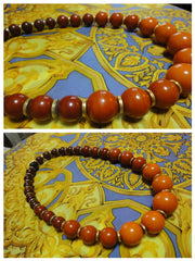 Vintage Yves Saint Laurent orange brown gradation color ball statement necklace. YSL ball chain necklace.