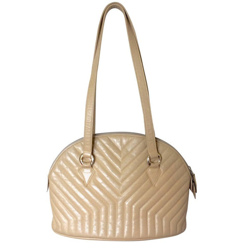 Vintage Yves Saint Laurent beige leather tote bag with Y, Chevron stitch in bolide purse shape. Perfect vintage bag from YSL back in the era
