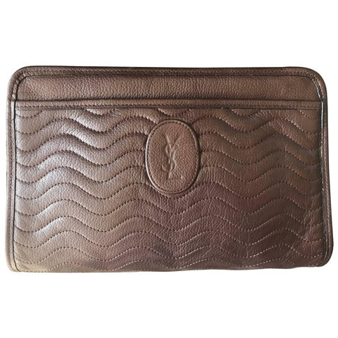 Vintage Yves Saint Laurent genuine dark brown leather mini document bag, clutch purse with wave stitch and embossed logo. Unisex YSL purse.