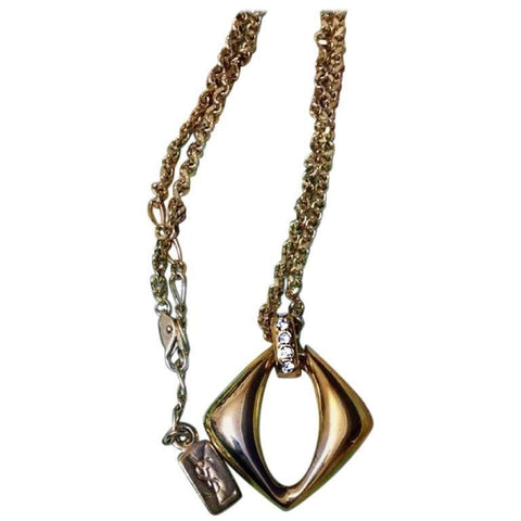 Vintage Yves Saint Laurent, YSL golden chain necklace with outlined square, diamond shape pendant top with crystal stones. Perfect gift