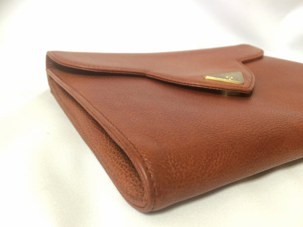 f74fc49bbbd ... Vintage Yves Saint Laurent genuine brown leather clutch purse with beak  tip flap and triangle embossed ...