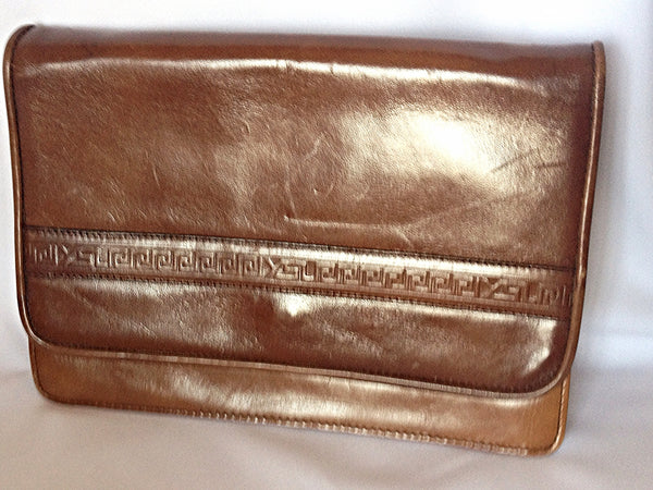 814a4611b9a ... Vintage Yves Saint Laurent genuine brown leather mini document bag,  clutch purse with embossed logo ...