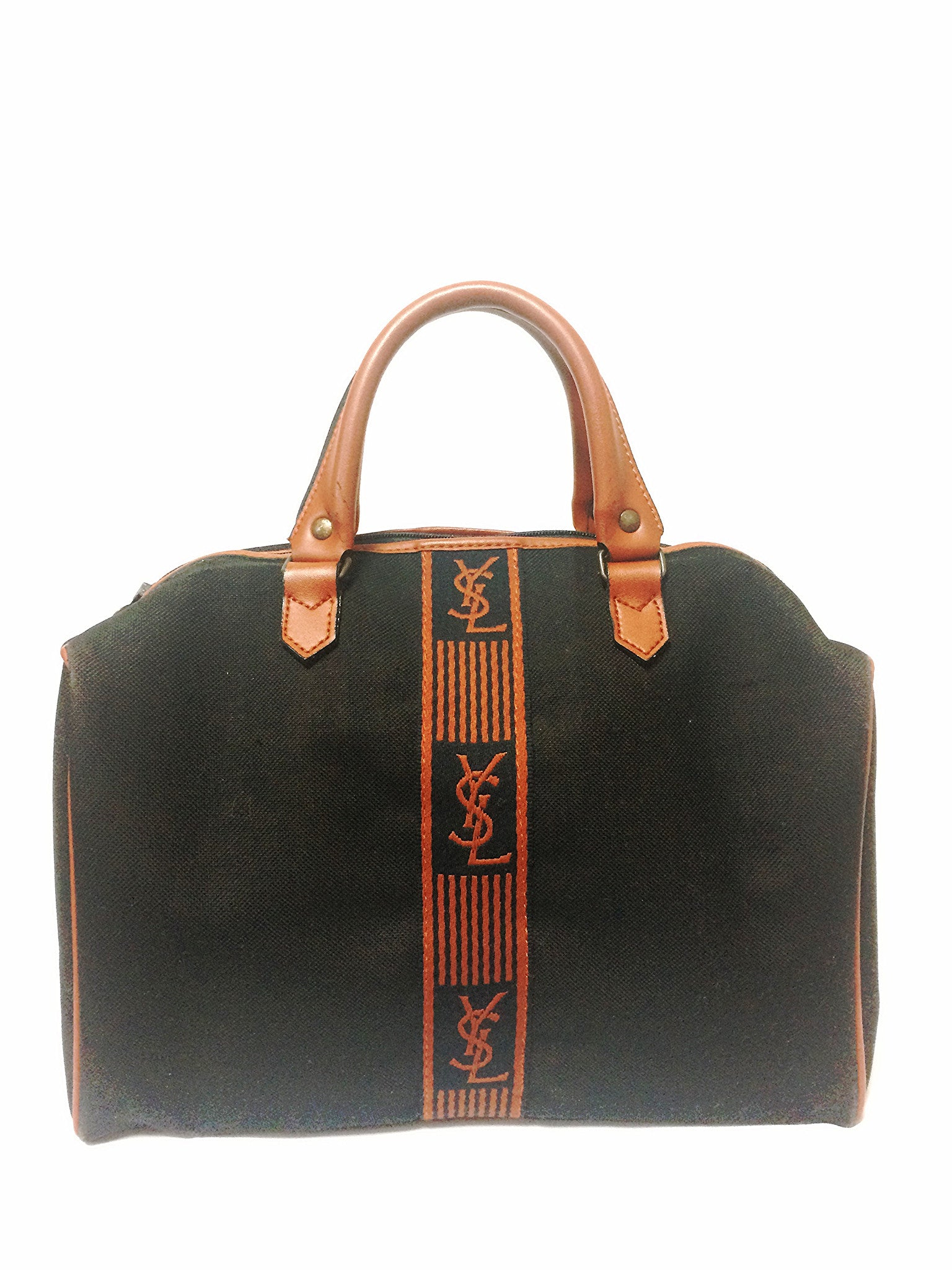 55ee62c29f42 Vintage Yves Saint Laurent black canvas duffle handbag