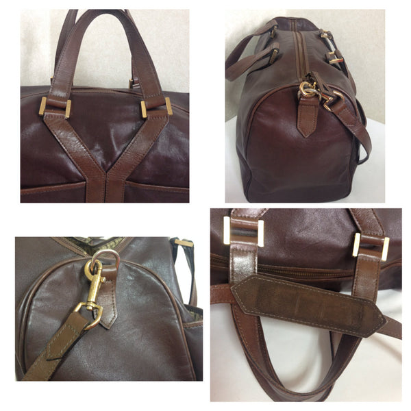 ae57f4d0036 ... 80's vintage Yves Saint Laurent genuine dark brown leather travel and  daily use duffle ...