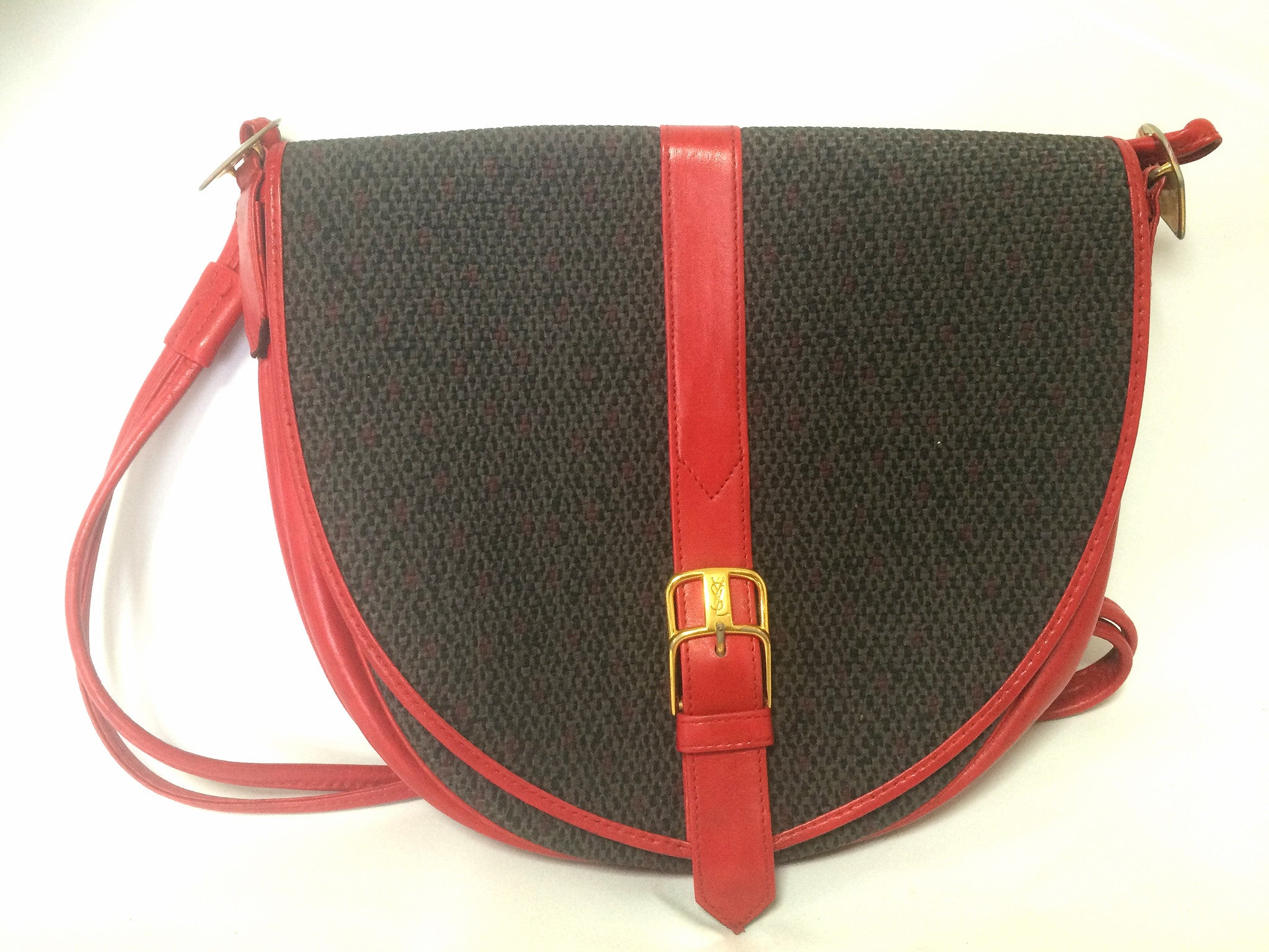 46bd25a029 Vintage Yves Saint Laurent oval navy shoulder bag with red leather shoulder  strap. Perfect daily