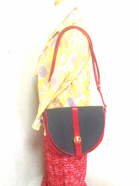 3941d2a289 Perfect daily Vintage Yves Saint Laurent oval navy shoulder bag with red  leather shoulder strap. Perfect daily