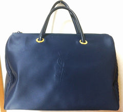 MINT. Vintage Yves Saint Laurent navy nylon daily use duffle bag with YSL logo stitch at front. Classic unisex style YSL purse