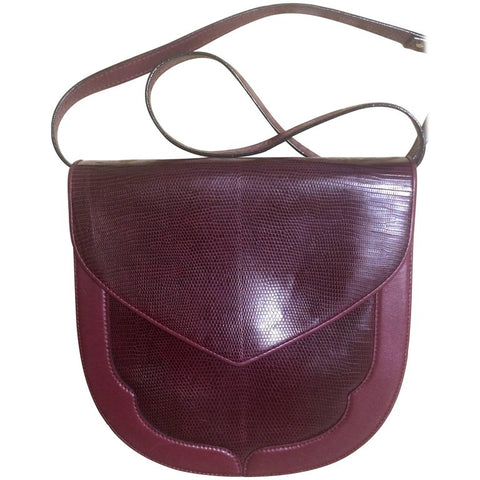 80's Vintage Yves Saint Laurent wine red, bordeaux lizard and leather shoulder clutch bag with YSL logo interior linings.