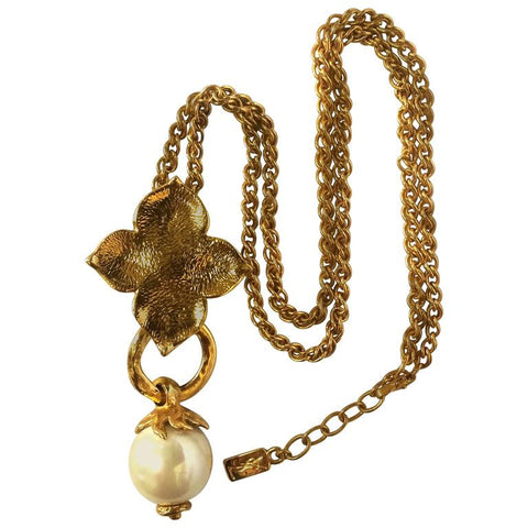 MINT. Vintage Yves Saint Laurent golden chain long statement necklace with extra large faux pearl and flower petal pendant top. Opal shine