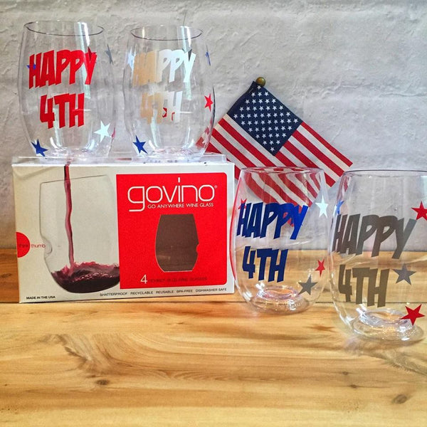 4th of July Shatterproof Govino Wine Glasses (set of 4)