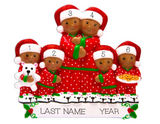 Pajama Family of 6, Personalized Ornament, Dark Skin