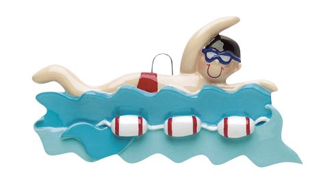 SWIMMER BOY IN WATER- Personalized Christmas Ornament