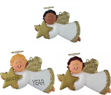 Angel with star, Male- Personalized Christmas Ornament