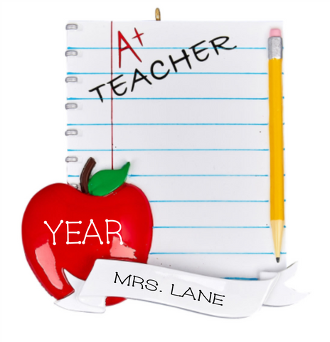 Teacher's Notebook- Personalized Ornament