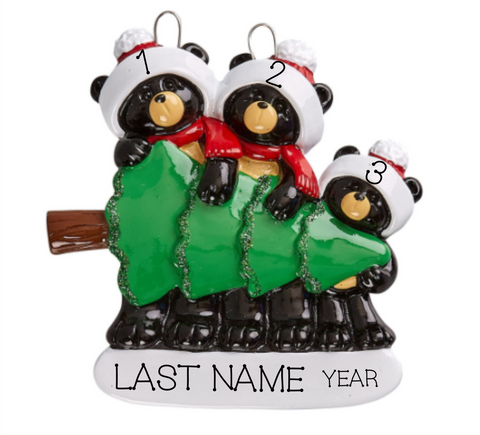 Black Bear Shopping- Family of 3 Personalized Ornament