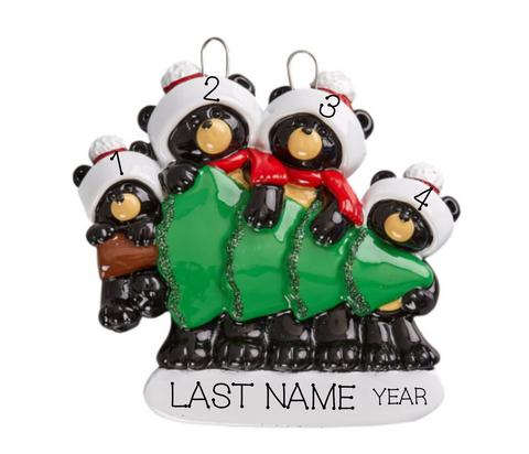 Black Bear Shopping- Family of  4 Personalized Ornament