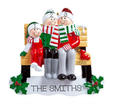 Park Bench- Family of 3 Personalized Ornament