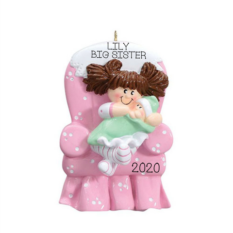 Big Sister Brown Hair Christmas Ornament