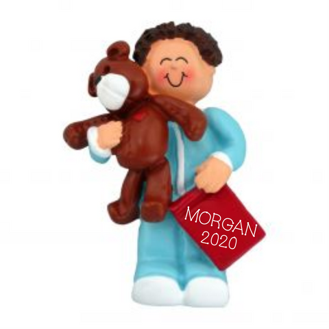Toddler Boy with Bear, Brown Hair Christmas Ornament