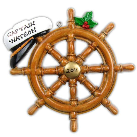 Boat Wheel Personalized Christmas Ornament