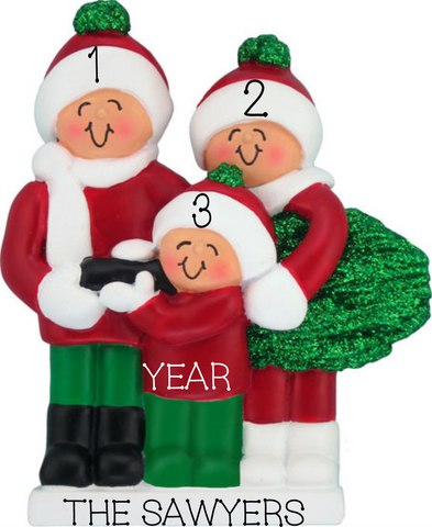 Carrying Tree, Family of 3 personalized ornament