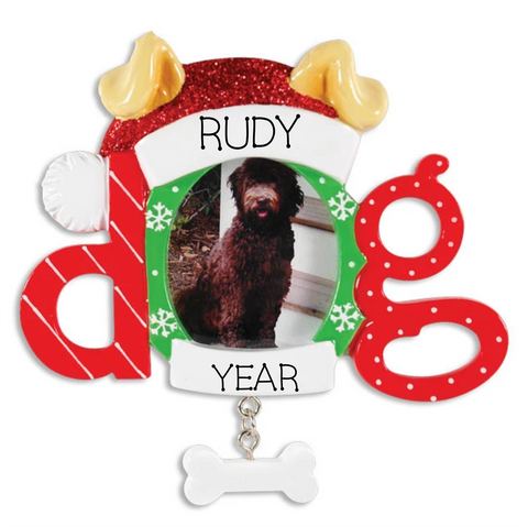 Christmas Dog Frame Personalized Christmas Ornament