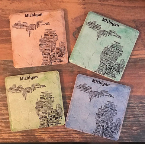 Colorful Michigan Coaster Set