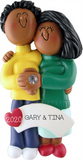 Engaged Couple, Dark Skin, Personalized Ornament
