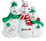 Expecting Snow Family Personalized Christmas Ornament- Family of 3