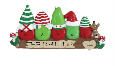 Gnome Family of 5- Personalized Ornament
