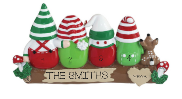 Gnome Family of 4- Personalized Ornament