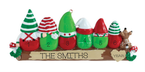 Gnome Family of 6- Personalized Ornament
