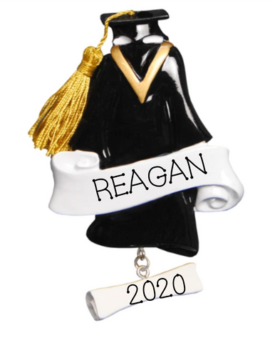 Graduation, Cap & Gown-Personalized Ornament