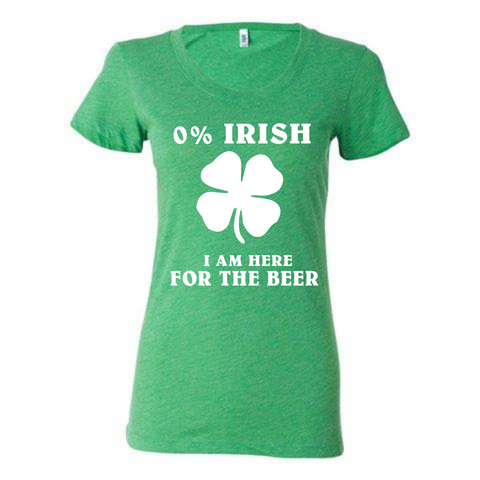 0% Irish, Here for the Beer soft t-shirt