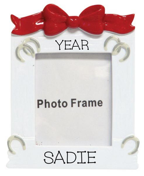 White Horse Frame- Personalized Ornament
