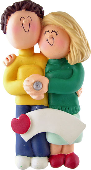 Engaged Couple, Brown Hair Male, Blonde Hair Female- Personalized Ornament