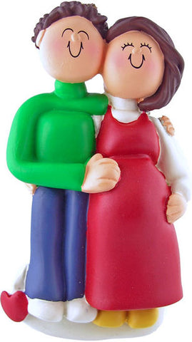 Pregnant/Expecting Couple Brown Hair Male & Female- personalized ornament