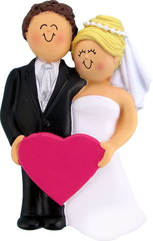 Wedding Couple, Brown hair male, blonde hair female- Personalized Ornament