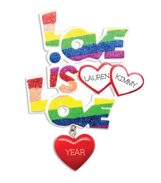 Love is Love Rainbow Ornament, Same Sex Ornament