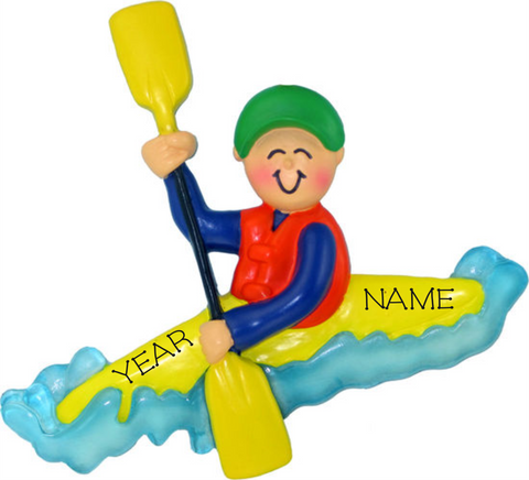 Kayaker, Male- Personalized Christmas Ornament