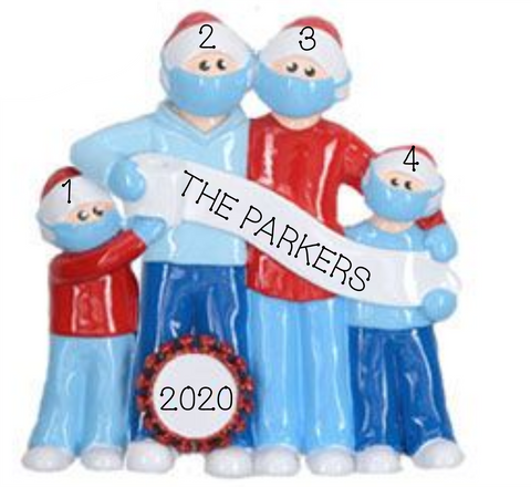 2020 Mask Wearing Family of 4