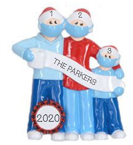 2020 Mask Wearing Family of 3