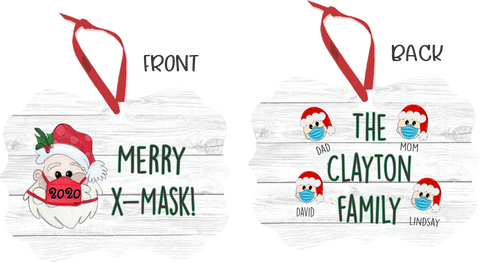 Metal Sublimated 2020 Merry X-Mask Personalized Ornament