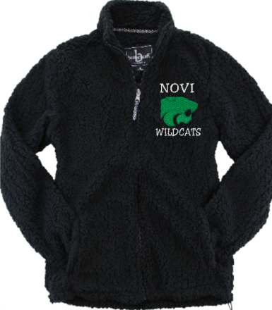 Novi Wildcats, Full Zip Sherpa Fleece, Black