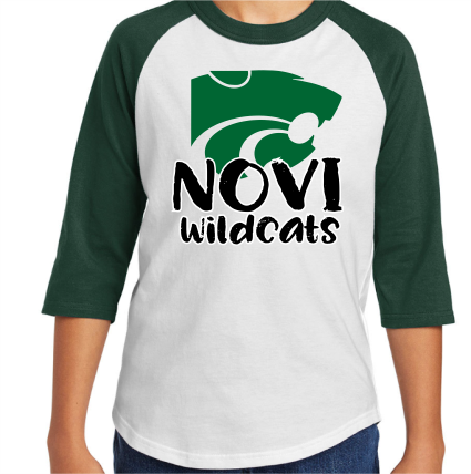 Novi Wildcats, green & white raglan sleeve shirt