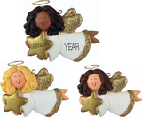 Female Angel with Star- Personalized Christmas Ornament