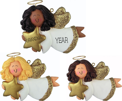 Angel with Star, Female- Personalized Christmas Ornament