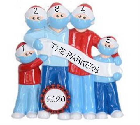 2020 Mask Wearing Family of 5
