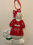 Pregnant/Expecting Snow Lady- Personalized Ornament