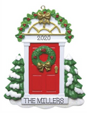 Red Door with wreath- New Home Personalized Ornament